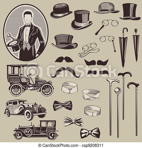 gentlemen's, vieux, voitures, -, accessoires, élevé, vecteur, set-, qualité - csp9208311