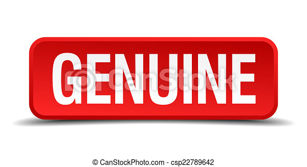 Genuine red 3d square button on white background - csp22789642