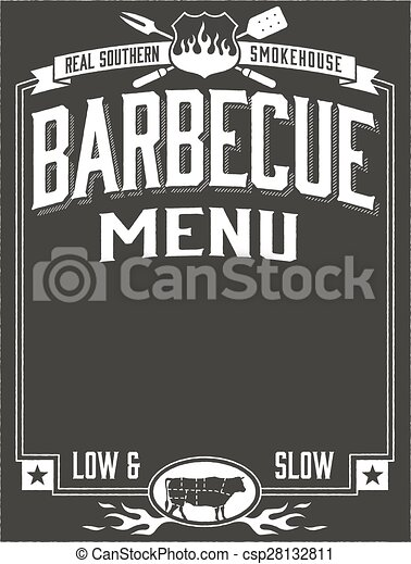 Genuine Southern Barbecue Menu Template For Barbecue Restaurant Or