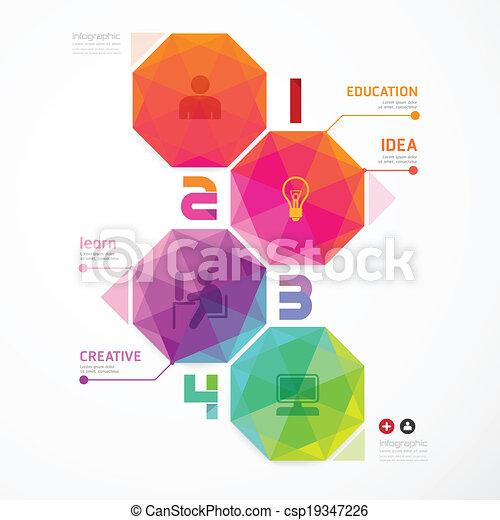 genummerde, zijn, gebruikt, kleurrijke, moderne, /, ontwerp, groenteblik, infographics, geometrisch, banieren - csp19347226