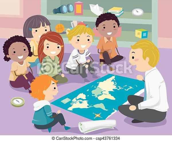 geografia, dzieciaki, stickman, nauczyciel, klasa - csp43761334