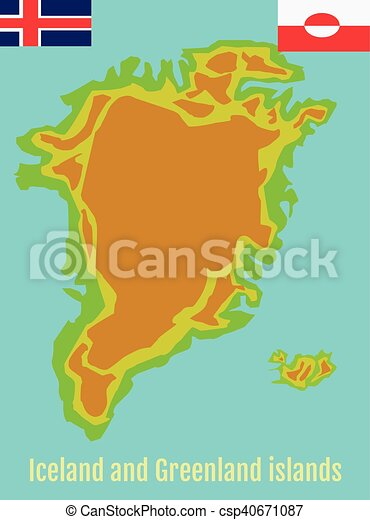 Geographic map of greenland and iceland. Map of greenland and ...