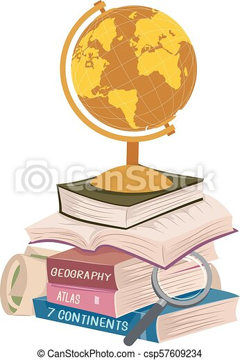 Geography Books Stack Long Reading Illustration - csp57609234