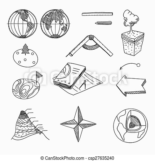 Geography lesson School objects and educational equipment Cartography topography Education linear hand drawn icons. - csp27635240