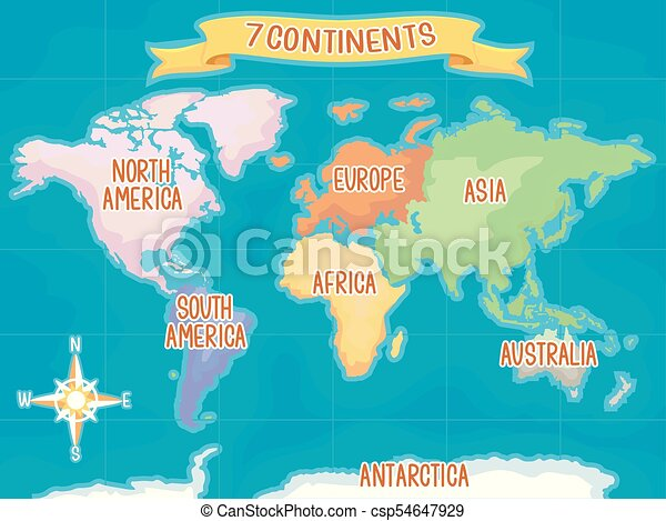 Geography seven continents illustration. Colorful illustration ...