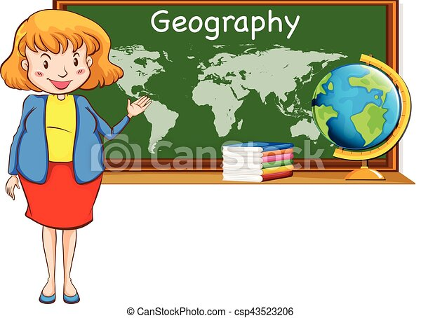 Geography teacher and world map on the board illustration geography teacher and world map on the board csp43523206 gumiabroncs Image collections