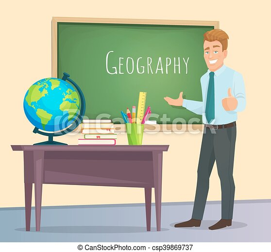 Geography Teacher Shows Pointer On Map Stock Vector 280088627 ...