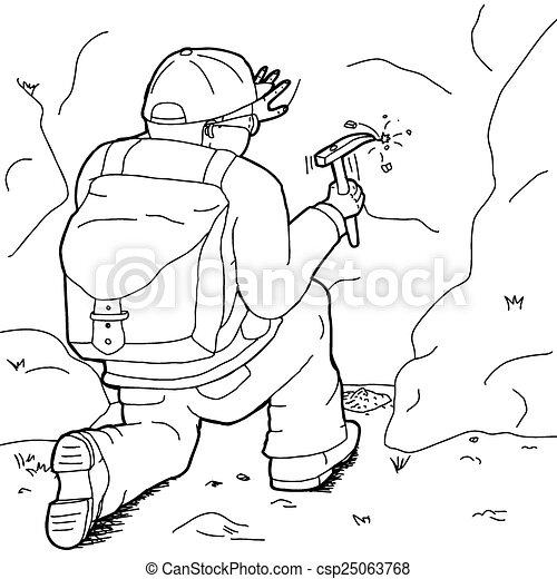 Geologo contorno lavorativo cartone animato contorno - Contorno squalo martello ...