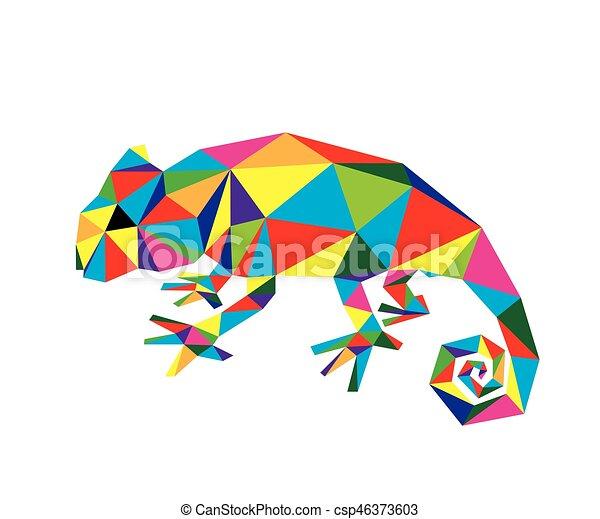 geomã ricas camaleão camaleão geomã ricas vetorial arte desenho