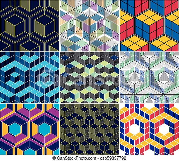 Geometric 3d Lines Abstract Seamless Patterns Set Vector Backgrounds Cubes Collection Technology Style Engineering Line Drawing Endless Colorful