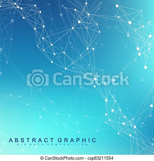 Geometric abstract background with connected line and dots. Network and connection background for your presentation. Graphic polygonal background. Scientific vector illustration. - csp63211554