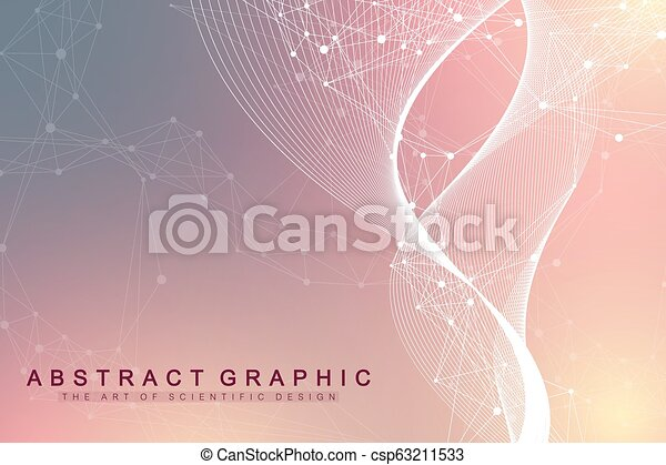 Geometric abstract background with connected lines and dots. Wave flow. Molecule and communication background. Graphic background for your design. Vector illustration. - csp63211533