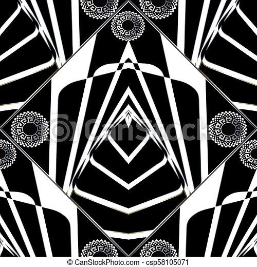 Geometric Abstract Greek Seamless Pattern Black And White Backg Stylish Geometric Striped Seamless Pattern Black White