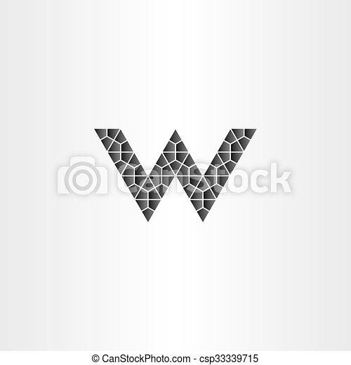 Geometric Black Letter W Vector Logo Icon Symbol Shape