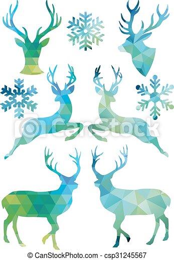 Geometric Christmas deer, vector  - csp31245567