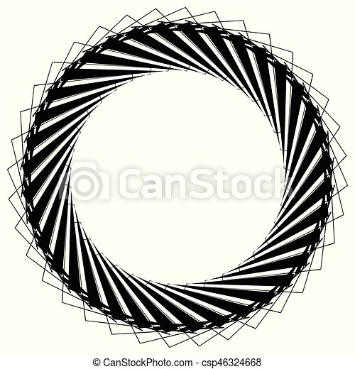 Geometric circle element, circle motif random edgy, angular lines. Suitable as concentric design element, abstract motif, circular non-figural element - csp46324668