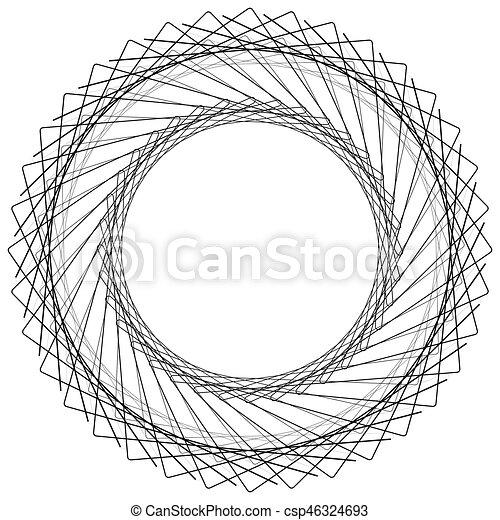 Geometric circle element, circle motif random edgy, angular lines. Suitable as concentric design element, abstract motif, circular non-figural element - csp46324693