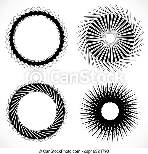 Geometric circle element, circle motif random edgy, angular lines. Suitable as concentric design element, abstract motif, circular non-figural element - csp46324790