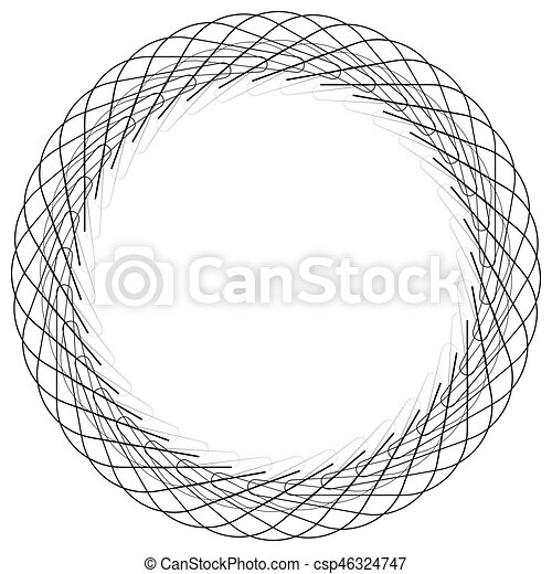 Geometric circle element, circle motif random edgy, angular lines. Suitable as concentric design element, abstract motif, circular non-figural element - csp46324747