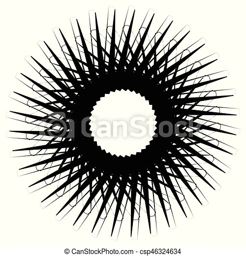 Geometric circle element, circle motif random edgy, angular lines. Suitable as concentric design element, abstract motif, circular non-figural element - csp46324634