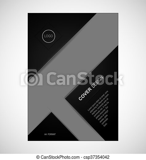 Geometric Cover Design In Black Colour A4 Format Template For