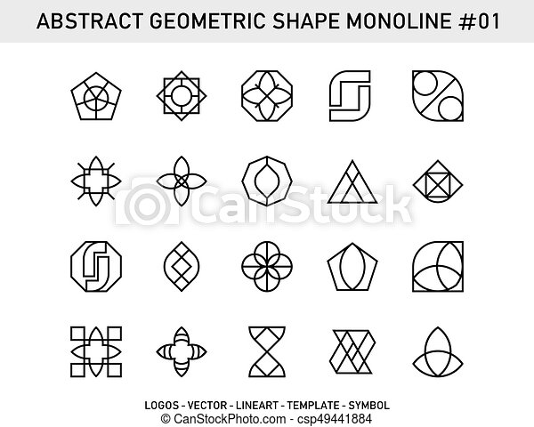 Geometric Element Set Abstract Element Symbols Emblem Innovation