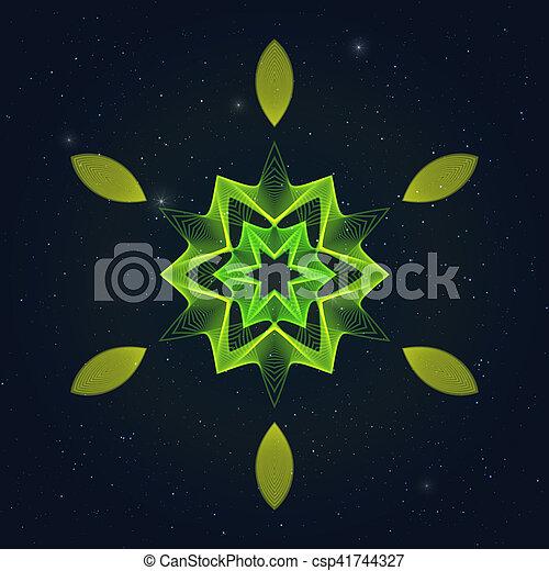 Geometric Flamy Hexagonal Symbol on Starry Sky. - csp41744327