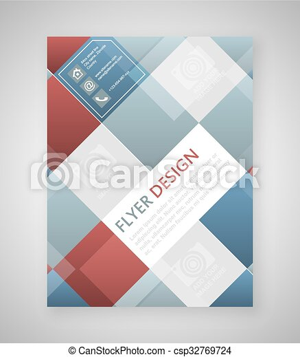 Geometric Flyer Template Design With Blue And Red Square  Vector