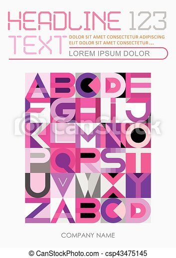 Geometric Font Design vector template - csp43475145