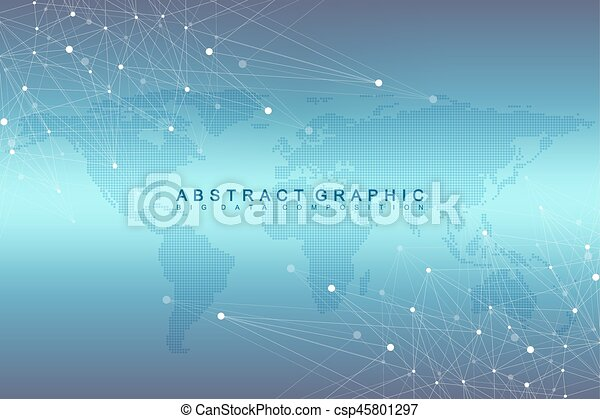 Geometric graphic background communication with dotted world map geometric graphic background communication with dotted world map big data complex with compounds gumiabroncs Gallery