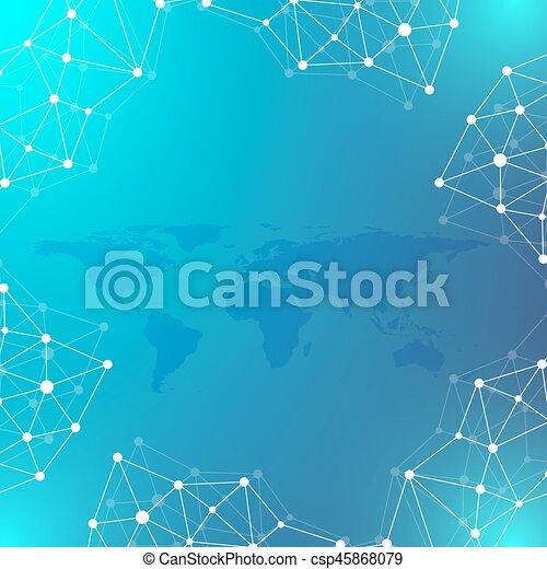 Geometric graphic background communication. Big data complex with Political World Map. Particle compounds. Network connection, lines plexus. Minimalistic chaotic design, vector illustration. - csp45868079