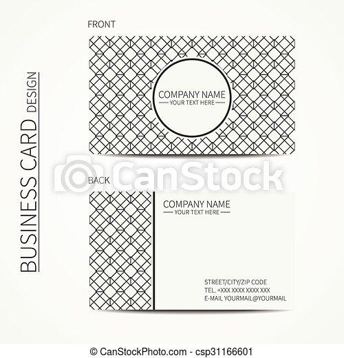 Geometric lattice monochrome business card template for your design ...