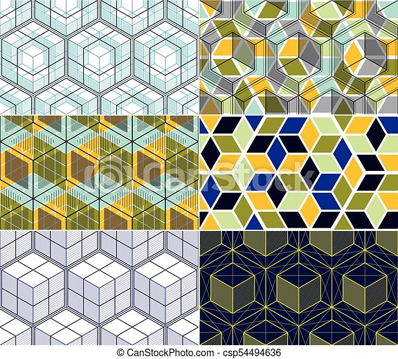 Geometric Lines Abstract Seamless Patterns Set 3d Vector Backgrounds Cubes Collection Technology Style Engineering Line Drawing Endless Colorful