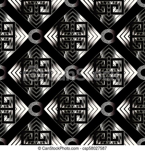 Geometric Meander Seamless Pattern Black Vector Geometry Abstract Background Wallpaper With Silver Geometric Shapes Figures