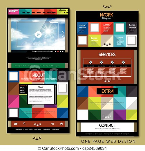 Geometric one page website design template. Geometric style one page ...