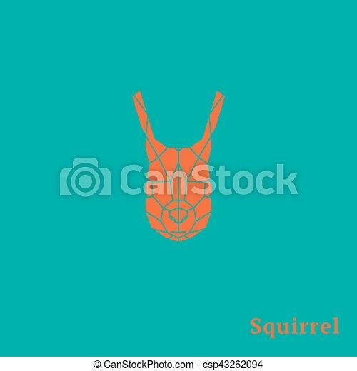 Geometric orange head Squirrel. - csp43262094