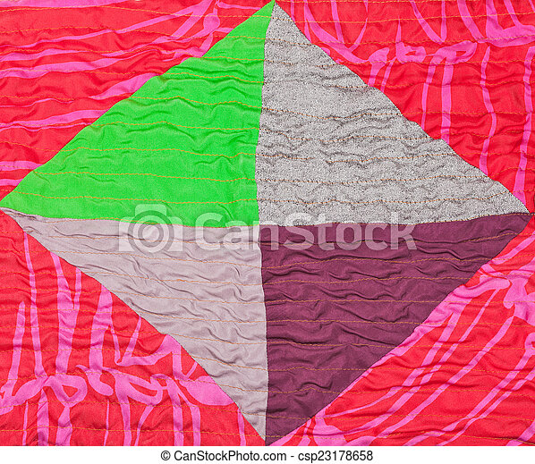 geometric ornament of silk patchwork quilt - csp23178658