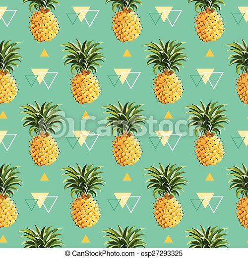 Geometric Pineapple Background - Seamless Pattern in vector - csp27293325