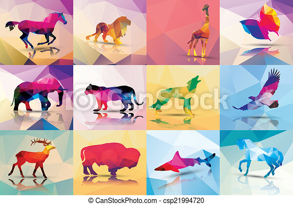 c41ccddf5 Collection of geometric polygon animals, horse, lion, giraffe ...