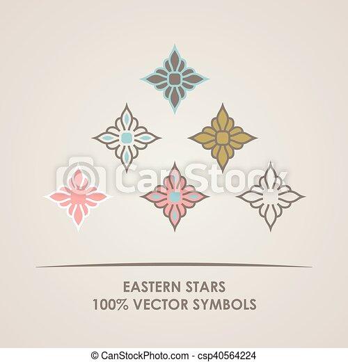 Geometric Round Eastern Star Logo Vector Circular Arabic Ornamental