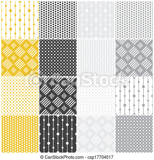 geometric seamless patterns: dots, squares - csp17704517