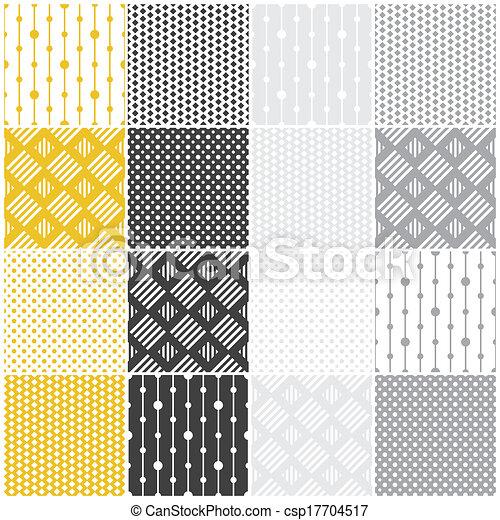 geometric seamless patterns: dots, squares - csp17704517