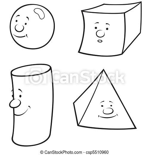 Geometric shapes - black and white cartoon illustration ...