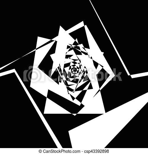 Geometric spiral pattern. Abstract monochrome texture. Vortex, swirl pattern - csp43392898