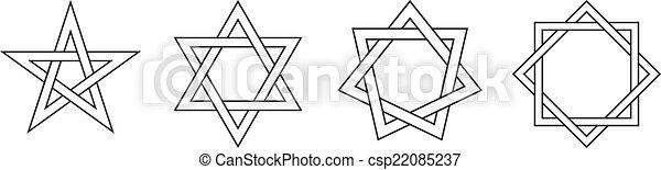 Geometric Star Figures Black - csp22085237
