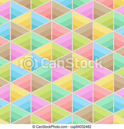 Geometric Symmetric Seamless Pattern of Light Pastel Triangles of Blue, Brown, Green, Mint, Red, Pink, Yellow Colors. - csp84032482