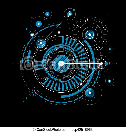 Geometric Technological Blue Vector Drawing Technical Wallpaper Abstract Scheme Of Engine Or Engineering Mechanism Canstock
