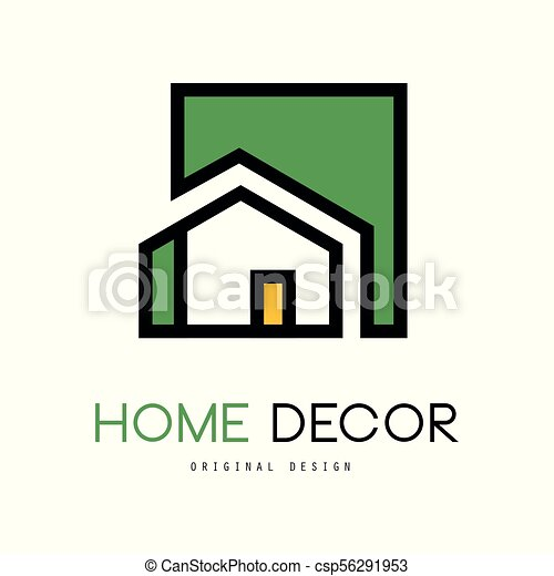 Geometric Vector Logo With Abstract Building Original Linear Emblem For Interior Design And Home Decorating Company Or Business