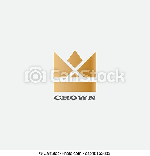 geometric vintage crown abstract logo design vector template