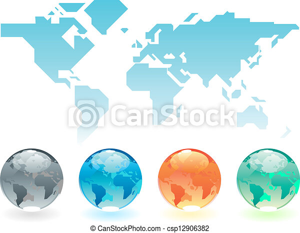 Geometric world map and globes geometric stylized map of geometric world map and globes vector sciox Image collections